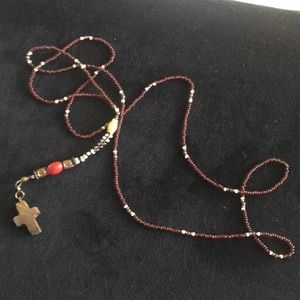 "Jewelry - Bread and wood cross necklace 20"" long"